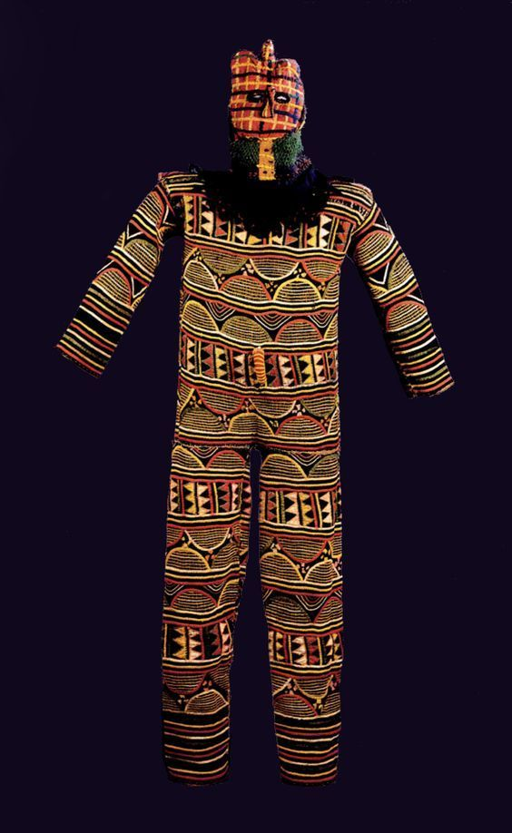 Full body costume and cloth mask for a spirit masquerader, north-central Igbo culture, mid-20th century.