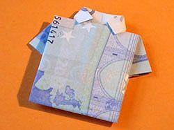 Geld falten - Hemd  - deutsche Bildanleitung