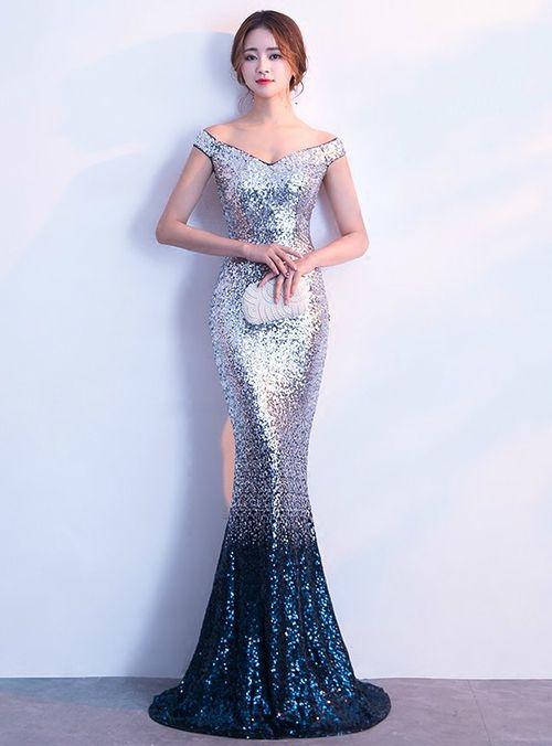08b043f2 Silhouette:mermaid Hemline:floor length Neckline:off the shoulder Fabric:sequins  Sleeve Style:sleeveless Color:blue Back Style:zipper up Embellishment: ...