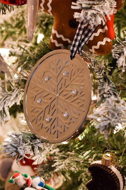 Bath and Body Works Candle Lids into Ornaments