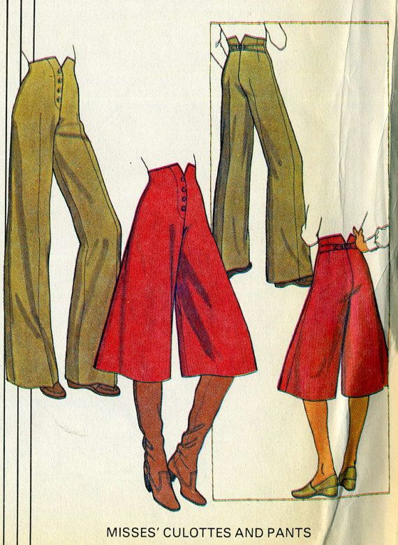 Vintage 70s McCalls 5698 UNCUT Misses high Waisted Culottes and Bell Bottom Pants with Back Buckle Sewing Pattern Size 6-10 Waist 23- 25  High