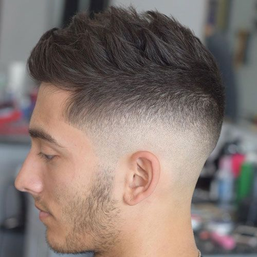 Mid Skin Fade With Textured Spiky Hair Fade Haircut Haircuts For Men Mens Hairstyles