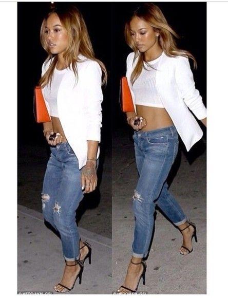 jeans jacket white karrueche boyfriend jeans crop tops blazer shirt coat fall outfits blouse