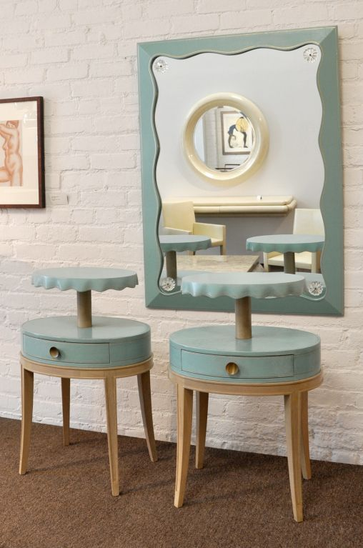 Grosfeld House: 1940s Pair of Leather Clad Tables.