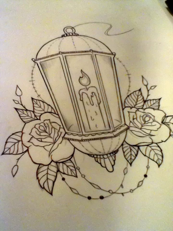 Burning Candle Lamp n Roses Tattoo Drawing