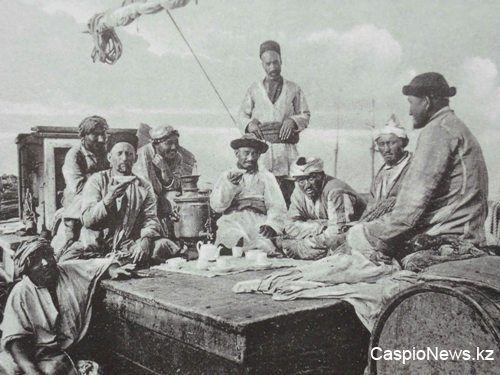 Kazakh men during a tea time