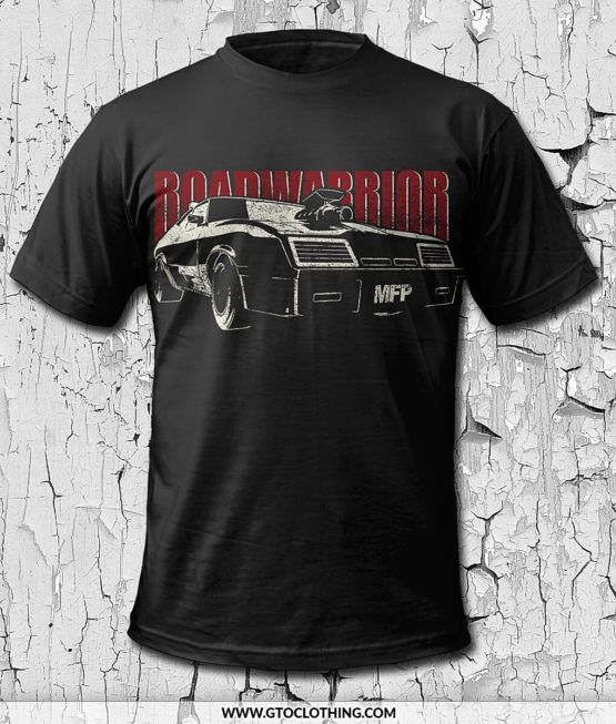 """MAD MAX Road Warrior T Shirt – showing a 1973 Ford Falcon XB GT Coupe with blower and Nosecone, plus the """"Road Warrior"""" lettering behind it. The second MAD MAX from 1981 movie was also known as """"MAD MAX II – The Road Warrior"""" in the US and in Europe."""