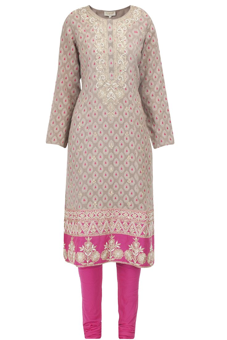 Light brown and pink gold thread embroidered kurta available only at Pernia's Pop-Up Shop.