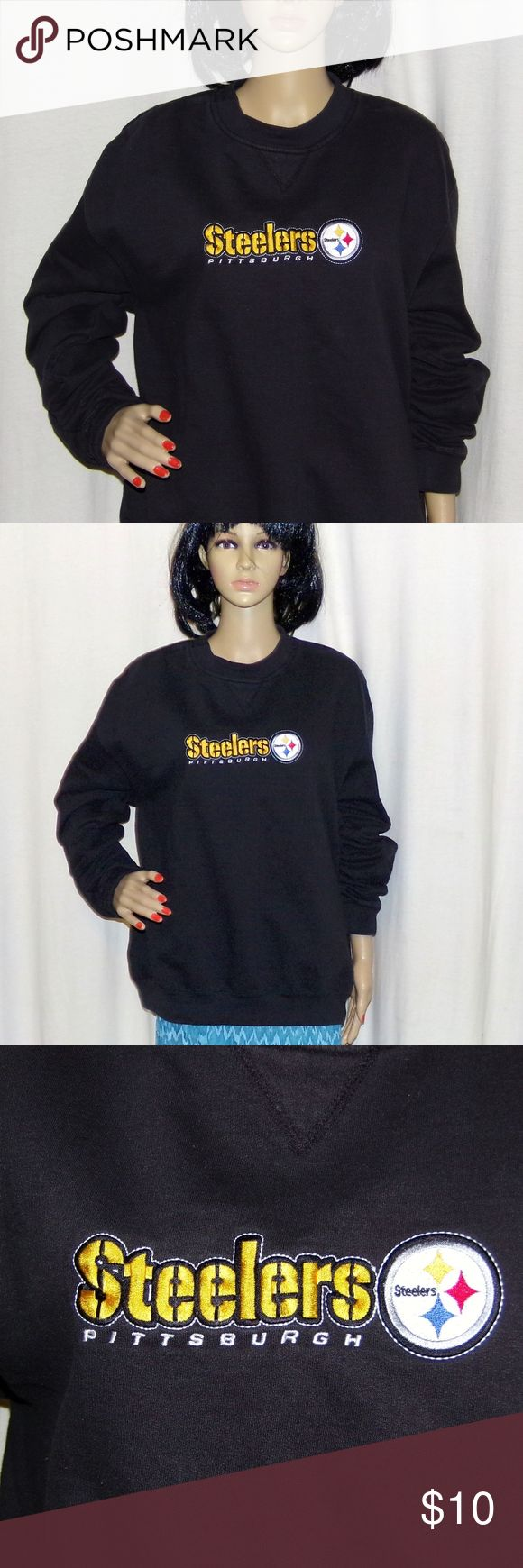 """Pittsburgh Steelers Sweatshirt Embroidered Pittsburgh Steelers Sweatshirt. Embroidered Vintage sweatshirt NFL Size L LOW & Fast Shipping. Really nice sweatshirt in fact one of the nicest one's I've ever seen. It is embroidered and in very good vintage condition. It was a very expensive shirt. NFL Brand This was a top of the line item. MEASUREMENTS: Size is L (Large)  Length-26""""/Chest-48-50""""/Sleeve-23""""  For Reference our Model  Measurements are. 32-24-33 BUNDLE 2 or more of our items 2 SAVE…"""