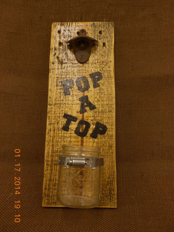 Rustic Beer Bottle Opener with Kerr Jar Bottle Top by OnceAPallet, $20.00