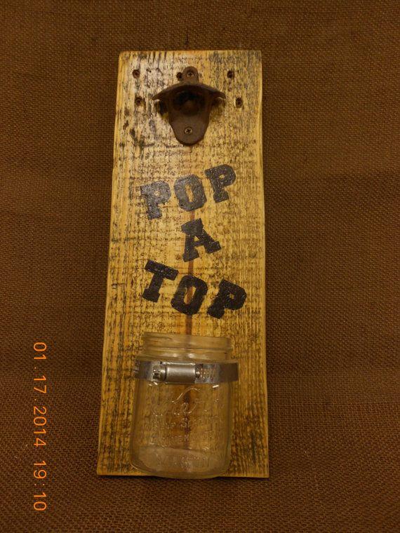 Rustic Beer Bottle Opener with Kerr Jar Bottle Top by OnceAPallet, $20.00