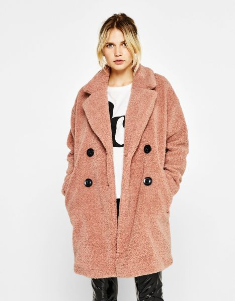 STYLECASTER | Teddy Bear Coats for the Winter | Bershka Faux Shearling Coat
