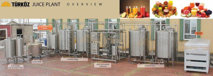 juice plant system, juice production, fruit, concentration, chiller, tubular pasteurizer, storage tank, sugar mixer, juice preparation mixer