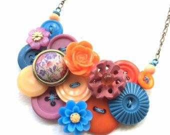 Bottoni gioielli luminoso giardino fiori Vintage pulsante dichiarazione collana rosa, arancio, pesca, blu