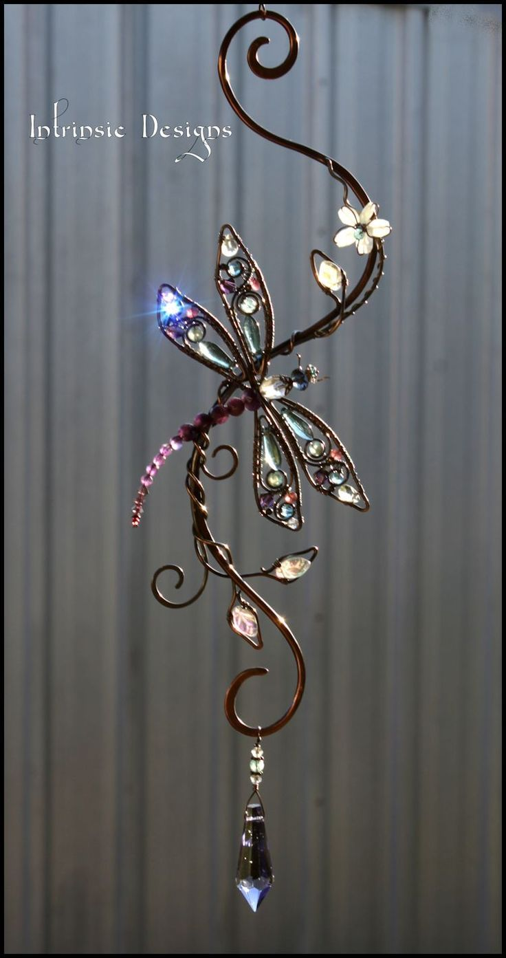 Dragonfly Gemstone And Crystal Suncatcher By Cathy Heery