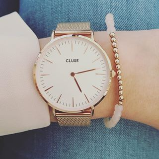 LA BOHÈME MESH ROSE GOLD/WHITE / Kadootje ☺️ #cluse #jarig - watches womens brands, leather strap womens designer watches, silver and white womens watches