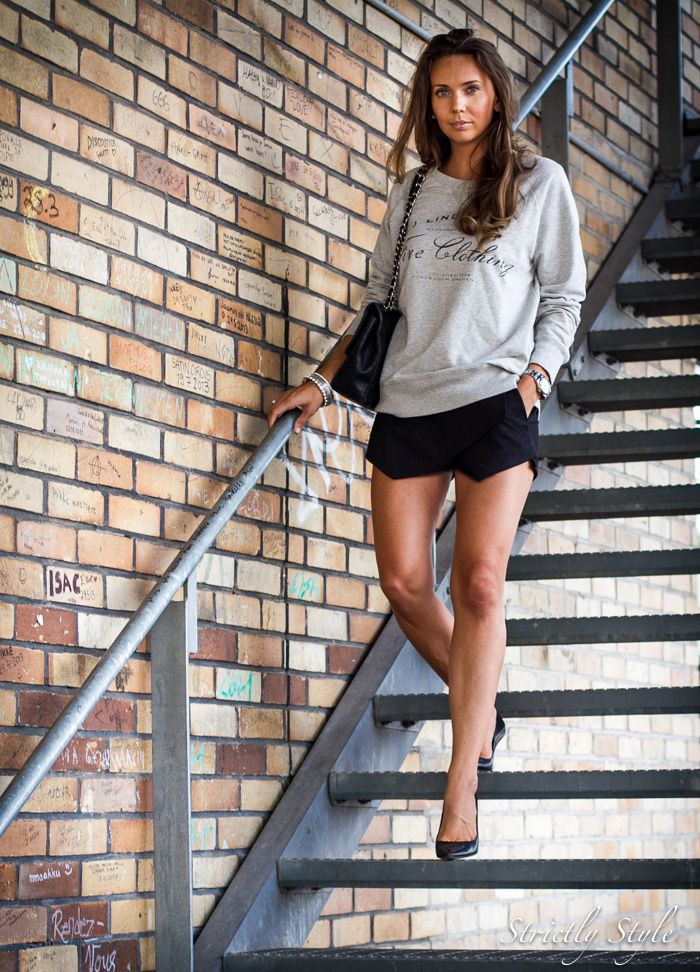 Ootd Grey Sweat Shirt And Black Shorts Outfit Chanel Bag