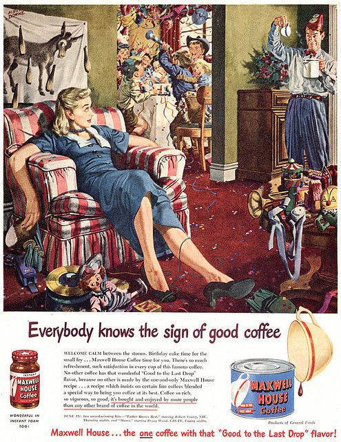 After kid's party apathy ~ 1950s ad for much needed coffee.