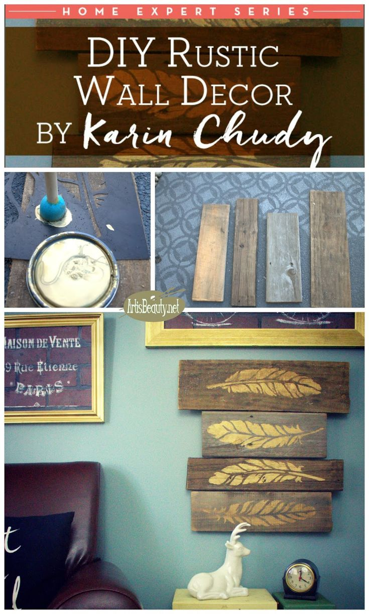 ART IS BEAUTY: DIY Gold Feather Autumn Barn Wood Wall Decor~Home Expert Series