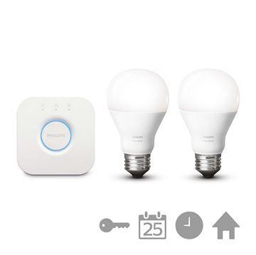 Starter kit Philips Hue, 2 becuri LED, 9.5W, E27, bridge wireless