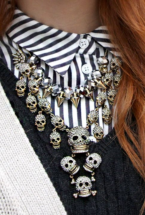 Spiked Necklace, Number A  Tiny Skull Necklace, Monarch Boutique