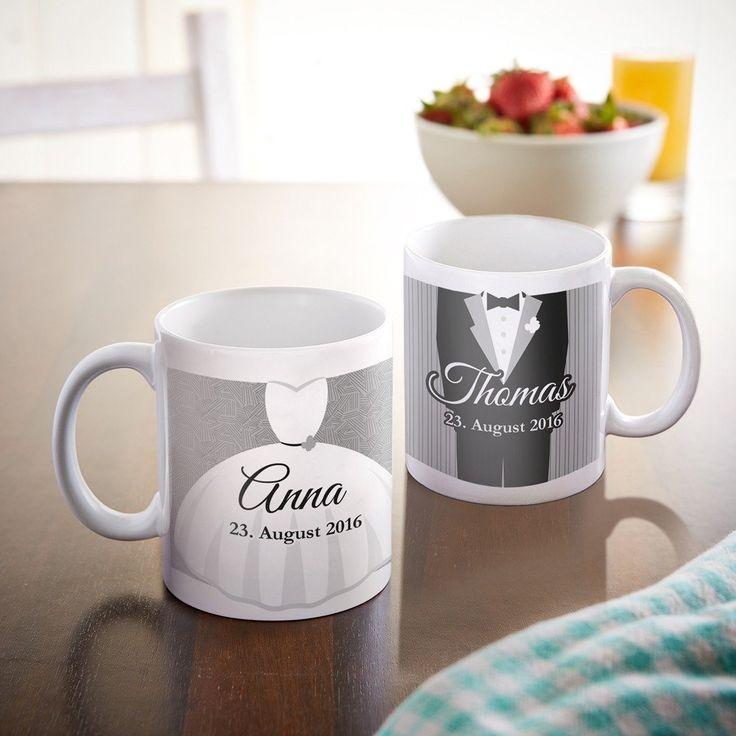 Edles Tassen-Set für Braut & Bräutigam. Tolle Erinnerung. #Hochzeit #Geschenk #Tasse