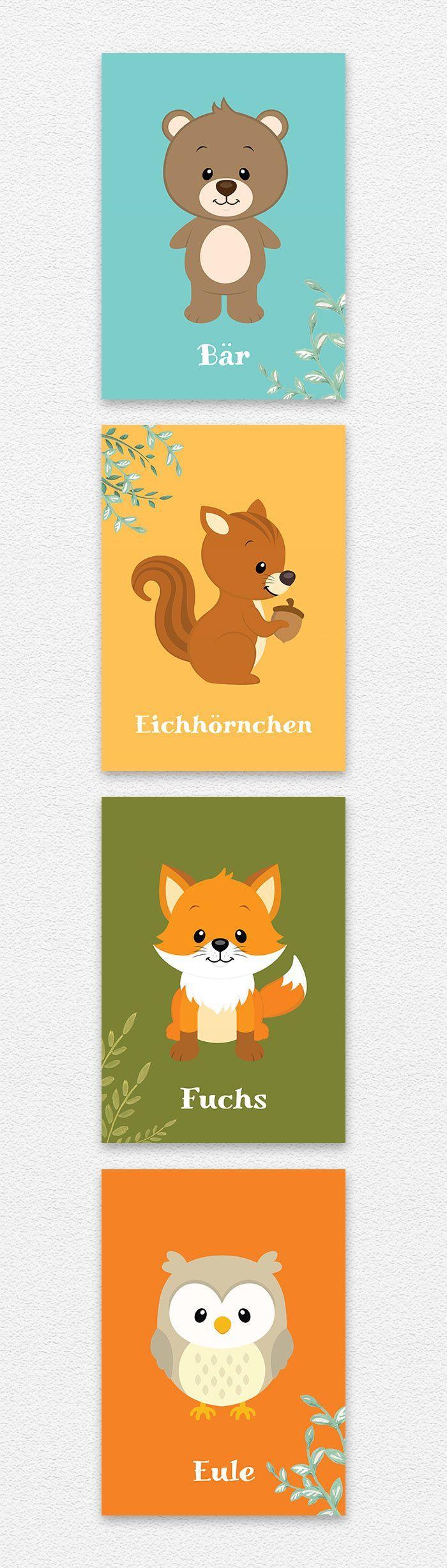 4 Bilder im Set mit Tieren aus dem Wald. Ein Bär, ein Eichhörnchen, ein …   – Kinderzimmer Wandgestaltung – #aus #Bär #Bilder #dem #Eichhörnchen…