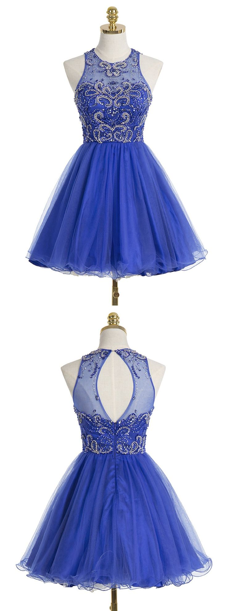 A-line Scoop Short Royal Blue Organza Homecoming Dress With Beading Sequins