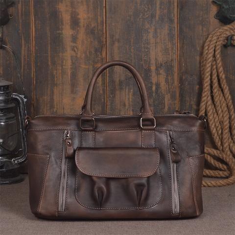 ROCKCOW World leather messenger bags for mens briefcase laptop bag shoulder satchel 9014