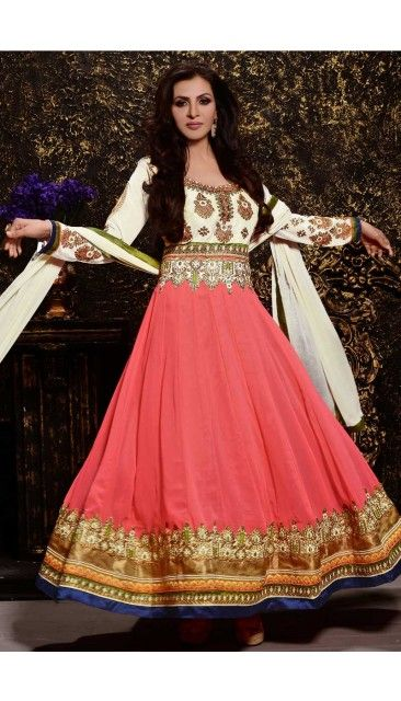 Coral Pink And Ivory Faux Georgette Anarkali Churidar Suit With Embroidered Dupatta - DMV14608