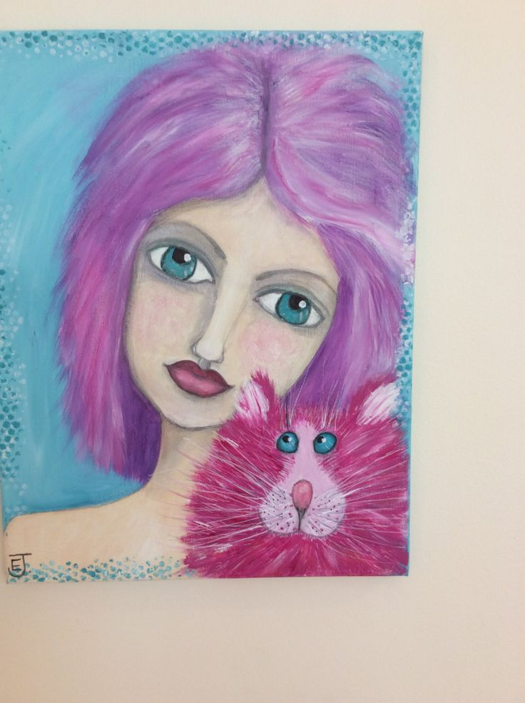 Girl and cat painting, OOAK art in vibrant pinks, teal and purple.  pink hair girl and cat. Lovely gift for adult, teen or child. by WhimsyArtbyElizabeth on Etsy