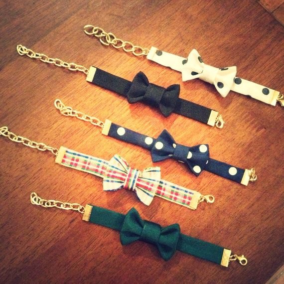 Custom Bow Tie Bracelet - match your school colors, sorority, favorite team and more