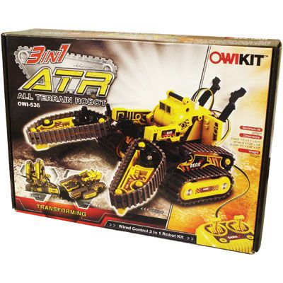 ATR All Terrain Robot $69.99 http://catalog.karens4toys.com/terrain-robot-p-42231.html#.VIeaEjHF9j4 Advanced model builders wanted! Follow the instructions to create a wired control 3-in-1 robotic vehicle. You'll be in command of the Forklift- working like a mini industrial fork lift, the Rover -able to move forward, backward and turn, and Gripper - ready to grasp and lift up to 7 oz in weight. Ages 13+. #toys #ToyStore #kids #fun #Toys4Kids #Fun4Kids