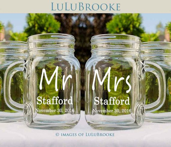 Mr and Mrs Barn Wedding Favors Personalized Mason by LuluBrooke