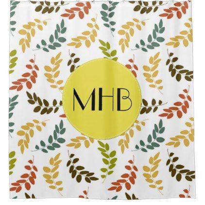 Monogram - Leaf Pattern - Blue Green Yellow Shower Curtain - monogram gifts unique custom diy personalize