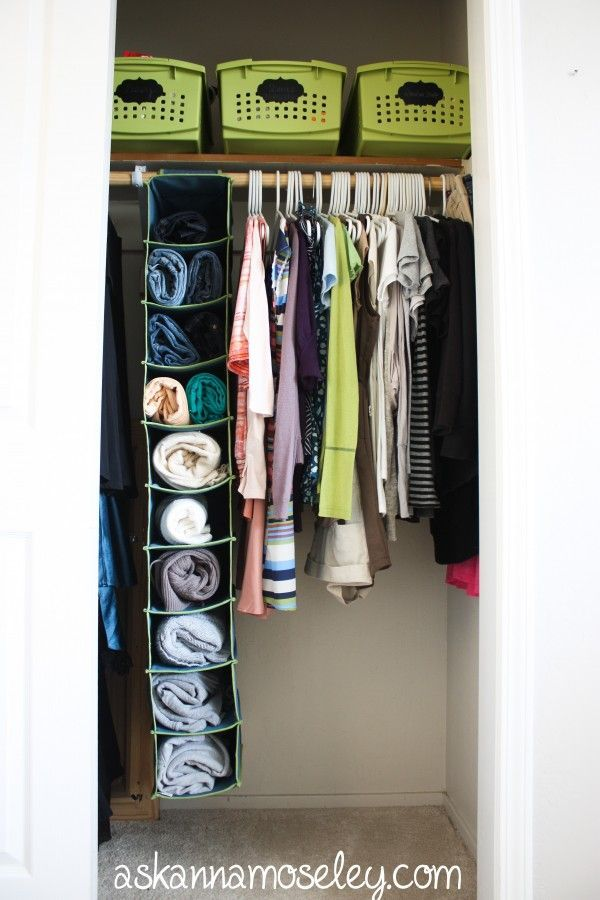 i would like to share about quick and relatively inexpensive closet solution using a hanging shoe rack as a way to organize sweaters or jeans helps save