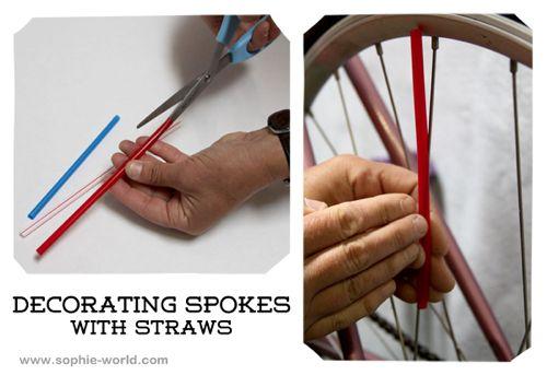 Decorating bike spokes with straws