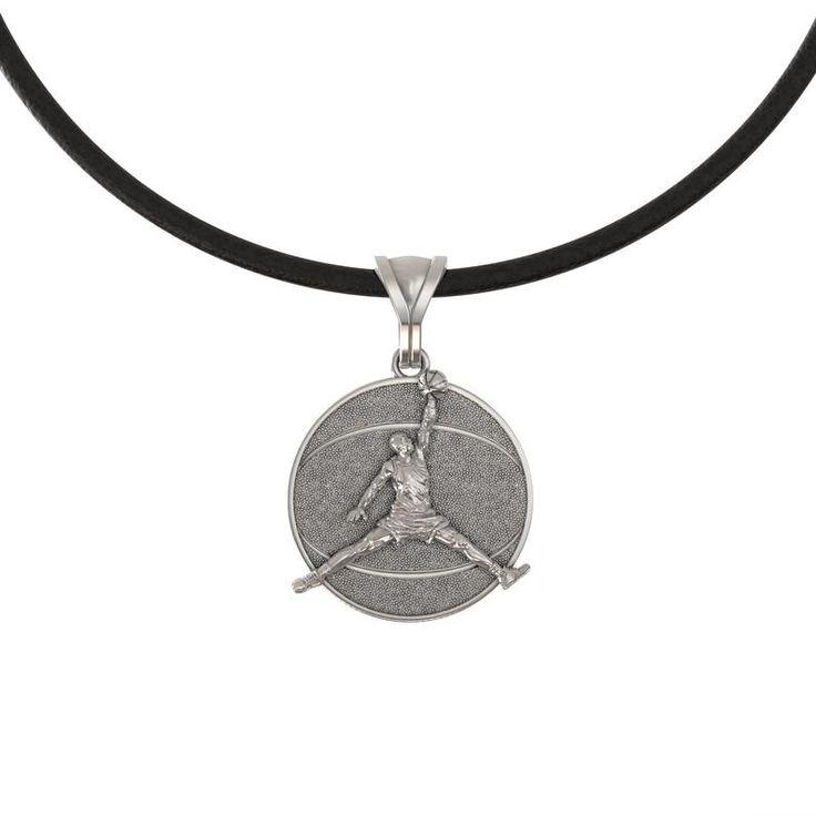 Basketball pendant Michael Jordan necklace Coach gift player 925 Sterling silver sport Jumpman jewel