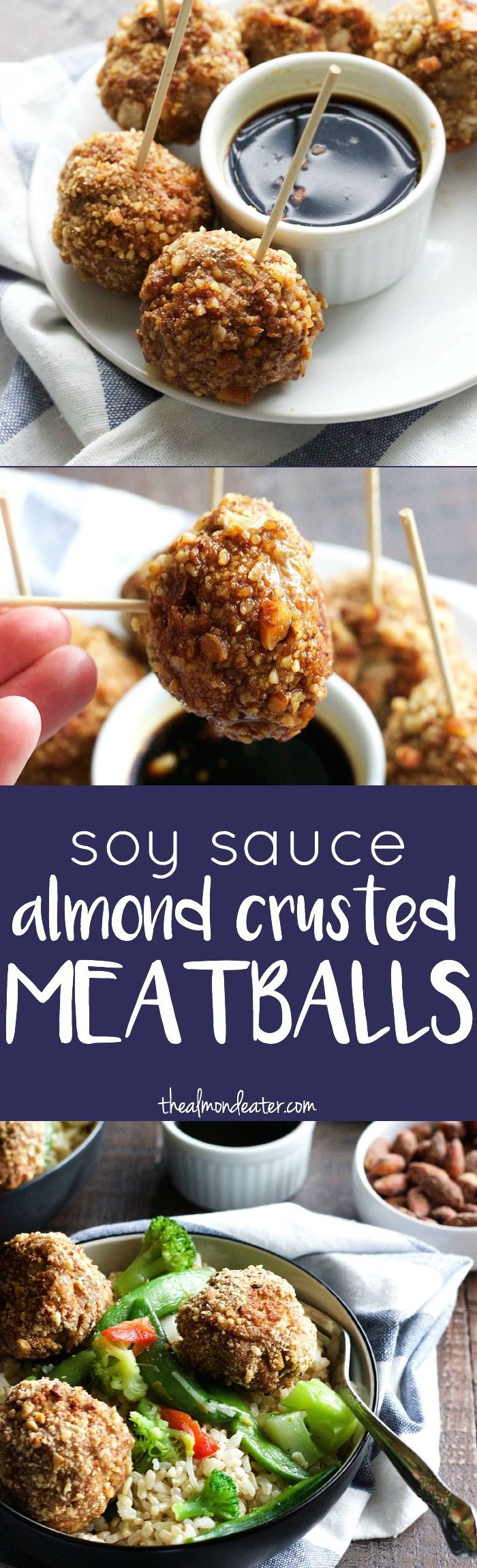 5-ingredient meatballs covered in almonds. An AWESOME texture and a delicious appetizer or dinner recipe | thealmondeater.com