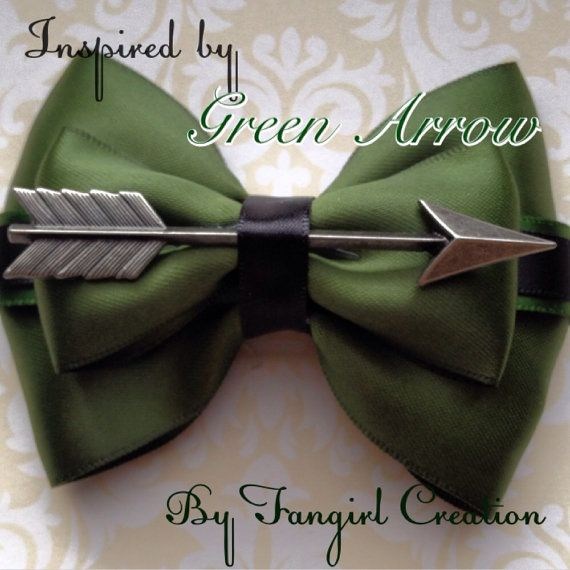 Green Arrow hair bow by FangirlCreation on Etsy.