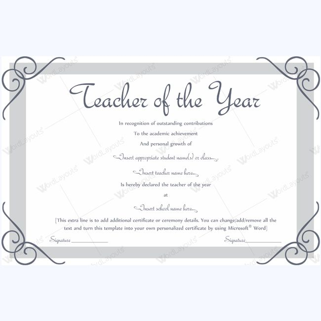 13 best Teacher of the Year Award Certificate Templates images on - certificate of completion template word