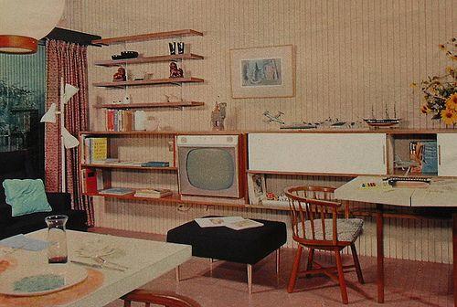 1950s TV Rec Room Lounge Den Vintage Interior Design Photo by Christian Montone, via Flickr