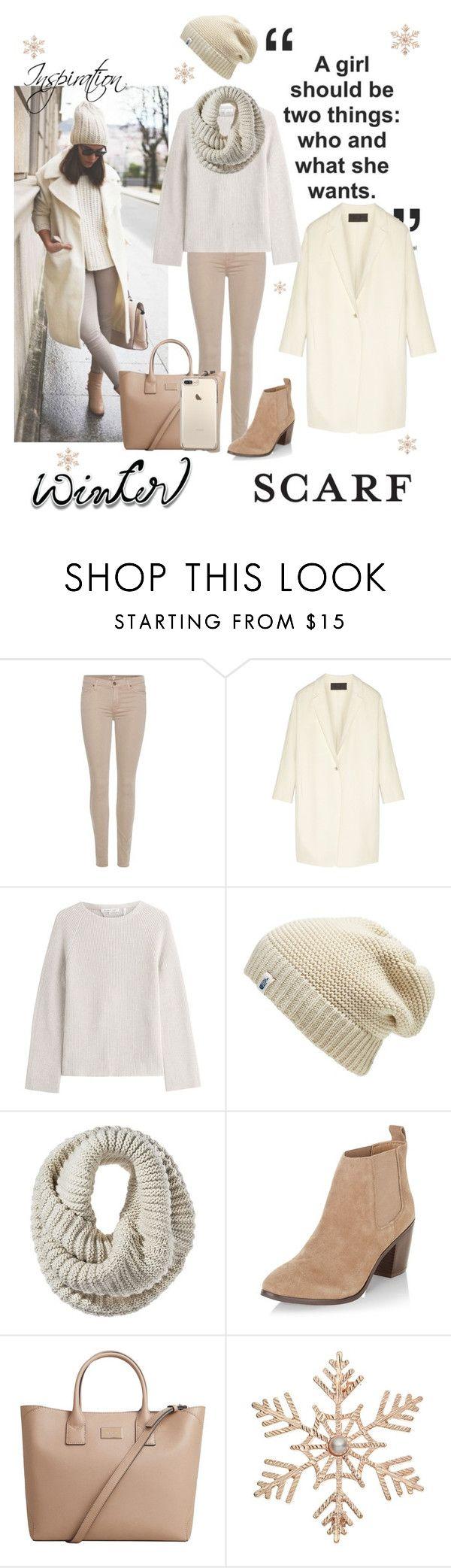 """Rock That Winter Scarf"" by mya-zari ❤ liked on Polyvore featuring ASAP, 7 For All Mankind, Donna Karan, Helmut Lang, The North Face, Mossimo, New Look, MANGO and John Lewis"