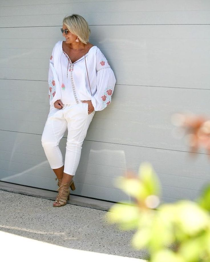 """583 Likes, 70 Comments - BEV   IRIS MAY STYLE (@irismaystyle) on Instagram: """"White drop crotch pants from @bohemian.traders plus stylish yet comfortable heels from…"""""""