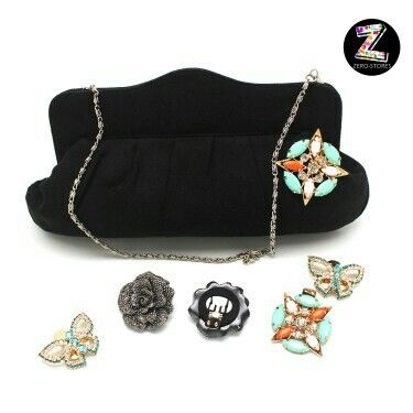 You can use SHOE CLIPS to decorate your cluch bag,  so it's looks gorgeous :)  www.zero-stores.com