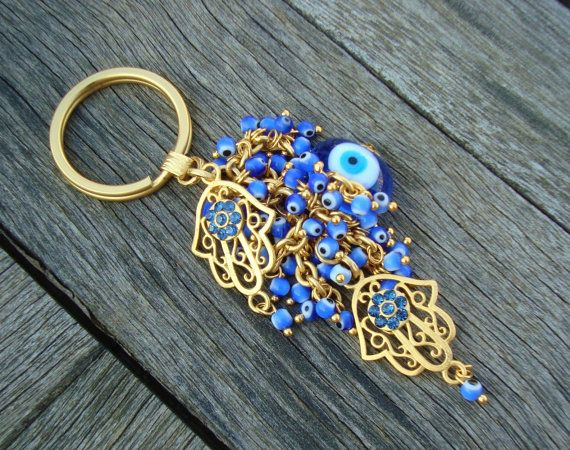 Blue Evil Eye Beaded Hamsa Keychain