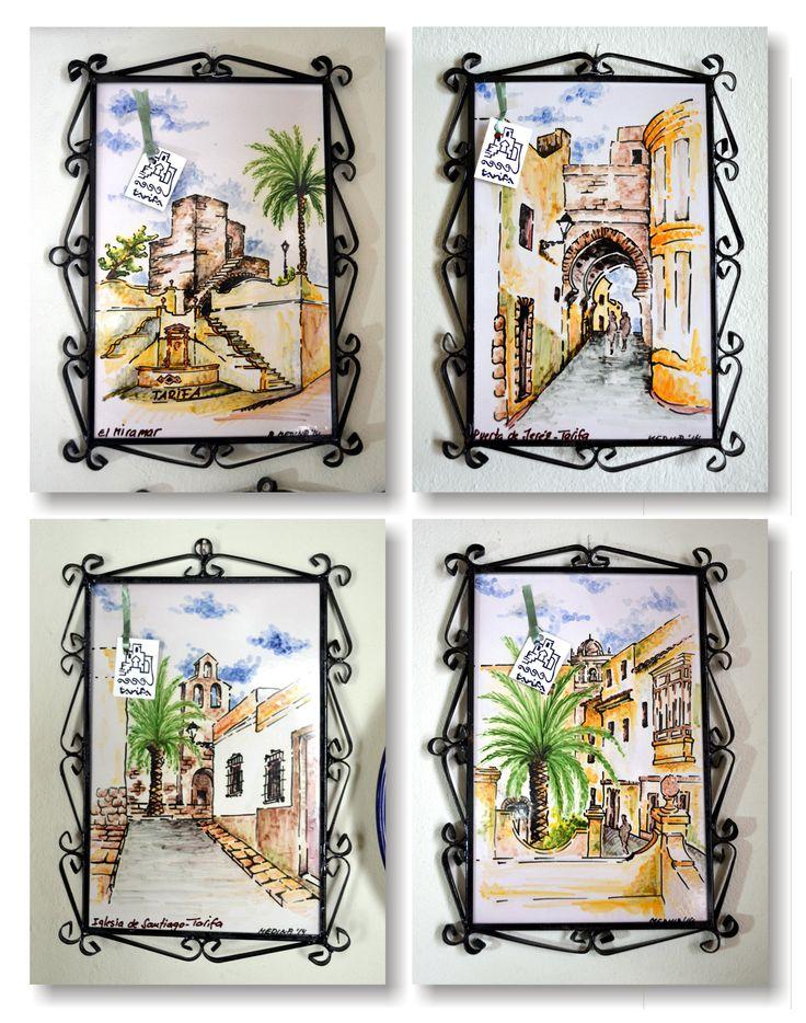 Diferentes vistas de Tarifa pintadas sobre cubierta en azulejos de 25x40cm.