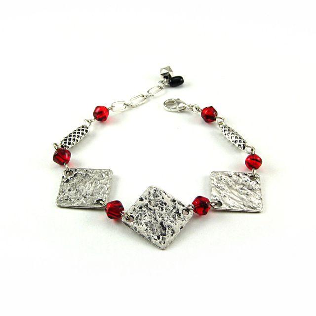 Bracelet Fanny rouge et argent - Bijoux Losange