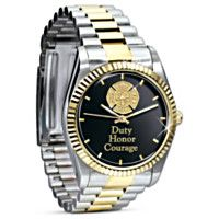 102027004 - Duty, Honor, Courage Engraved Firefighter's Watch