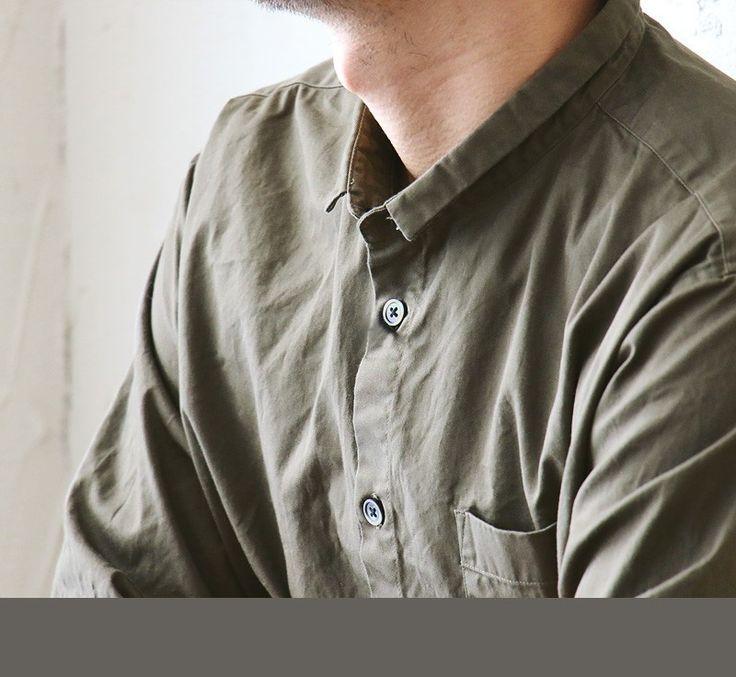 【楽天市場】【送料無料】 Audience [オーディエンス] シャツ コットンギャバジン生地 日本製 ハイネック 9分袖 スタンドスモールカラー カーキグレー メンズシャツ レディースシャツ カジュアル 春 春服 春物:PATY